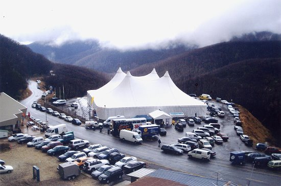 Our Regal 4 Marquee in frosty weather at Falls Creek