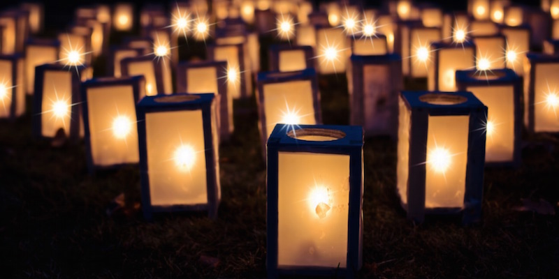 Christmas lanterns for a carols by candlelight event